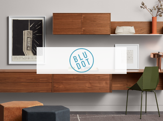 blu dot office setting with wood wall mounted storage
