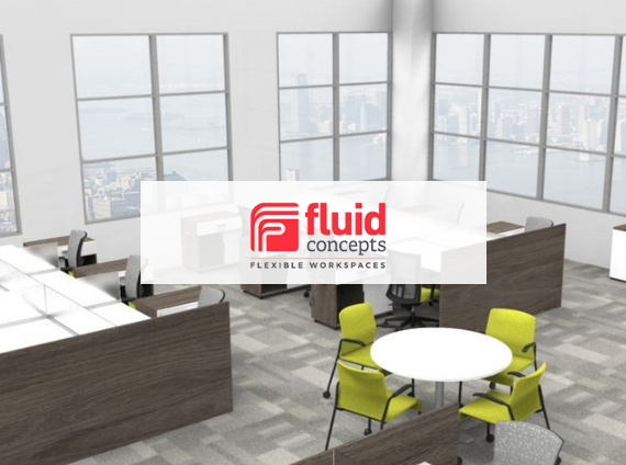 fluid concepts office setting with workstations and collaboration table
