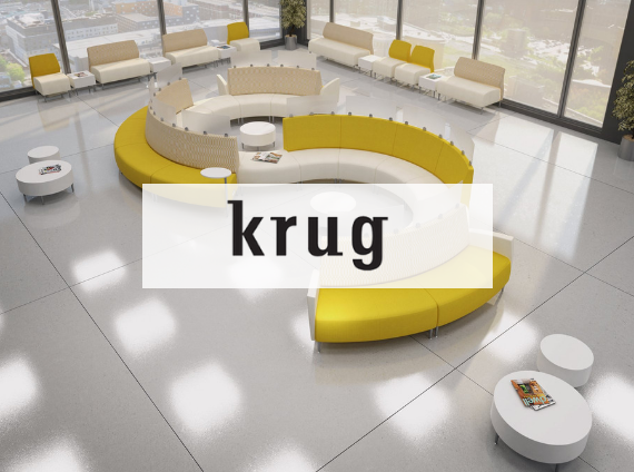 krug zola modular lounge in yellow and white