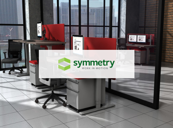 symmetry height adjustable desk and office chair