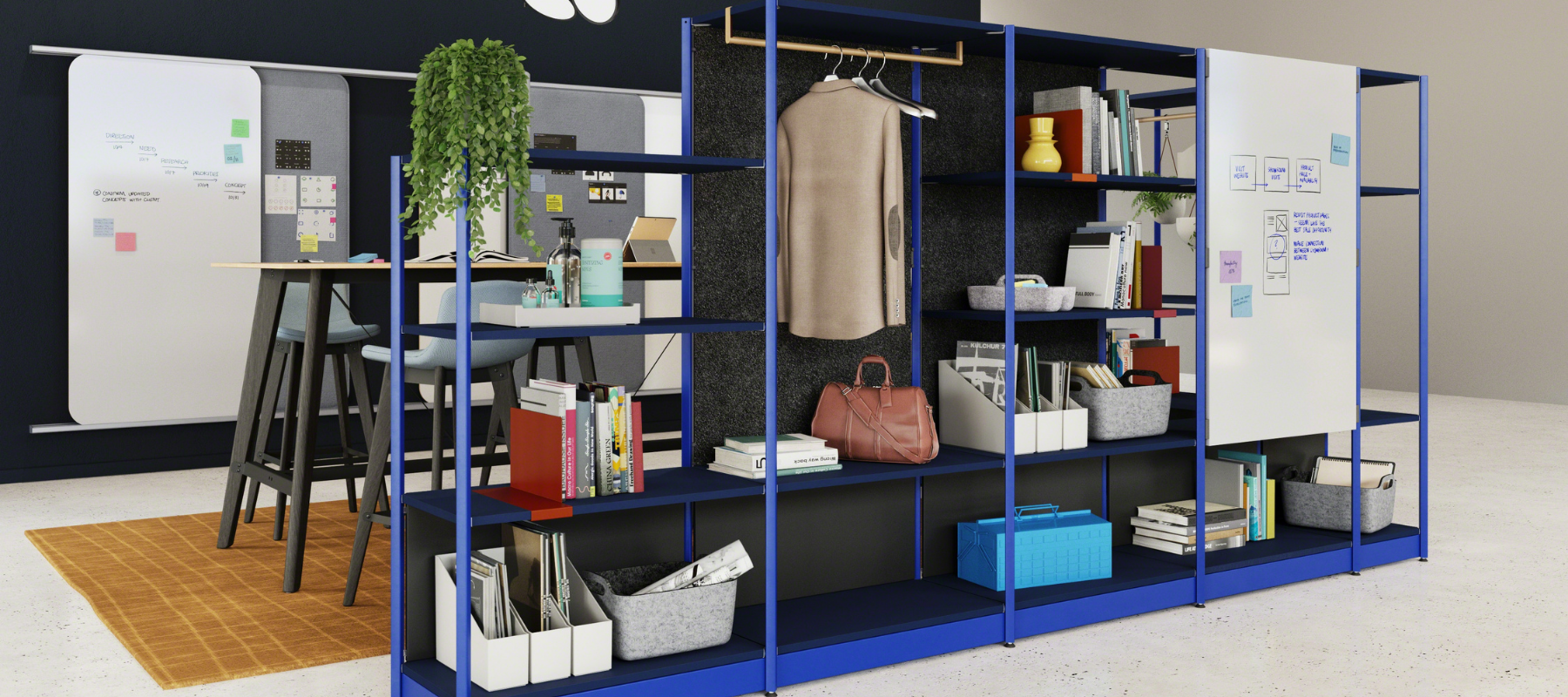 Flex active frames storage and space division in a hybrid workplace