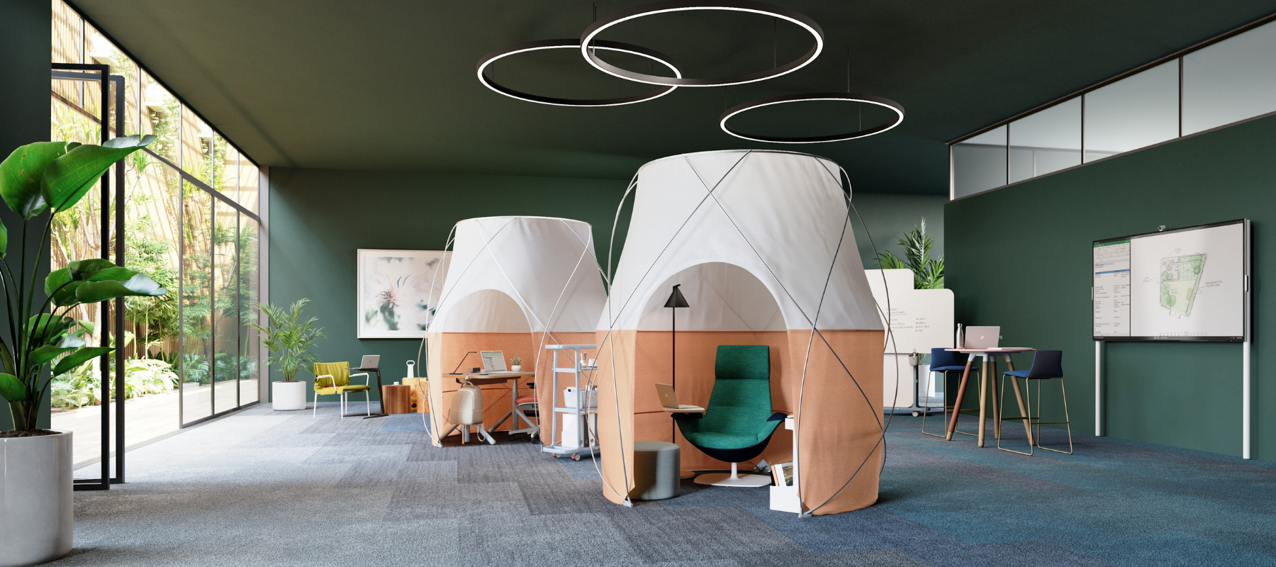 tents that serve as focus spaces in the hybrid workplace