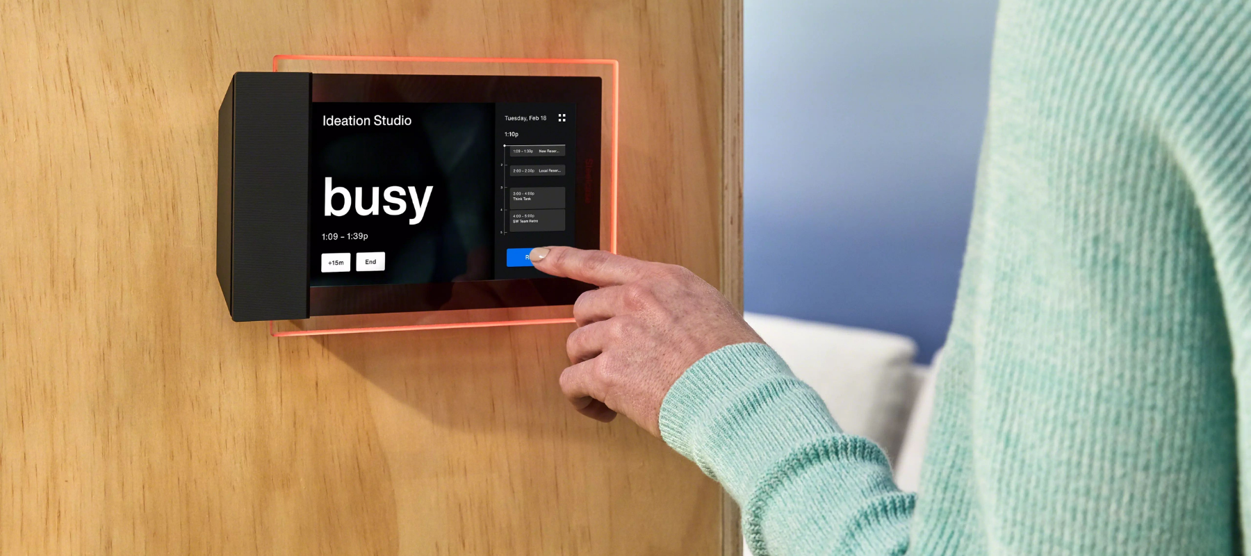 room booking interface that shows whether a room is booked